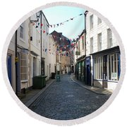 old town street in Hexham Round Beach Towel