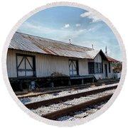 Old Train Depot In Gray, Georgia 2 Round Beach Towel