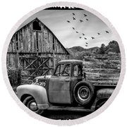 Old Truck At The Barn Bordered Black And White Round Beach Towel