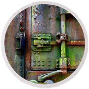 Old Weathered Railroad Boxcar Door Round Beach Towel