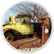 Old Yellow Coupe Round Beach Towel