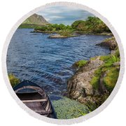On A Lake Of Blue Round Beach Towel