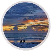 On A Quiet Beach With You Round Beach Towel