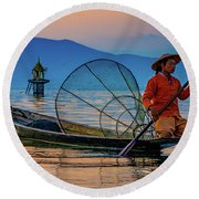 On Inle Lake Round Beach Towel by Chris Lord