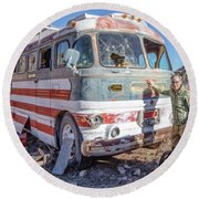 On Location Photographer Edward Fielding In Jerome Arizona Round Beach Towel