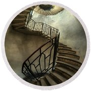 An Old Staircase Round Beach Towel