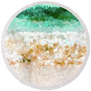 On The Beach Abstract Painting Round Beach Towel