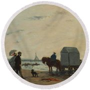 On The Beach At Trouville  Round Beach Towel