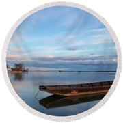 On The Shore Of The Lake Round Beach Towel