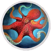 Optical Octopus Round Beach Towel