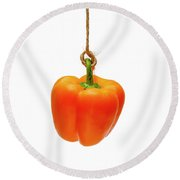 Orange Bell Pepper On A White Background Round Beach Towel