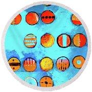 Orange Dots Round Beach Towel