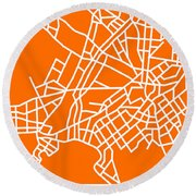 Orange Map Of Athens Round Beach Towel