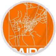 Orange Map Of Cairo Round Beach Towel