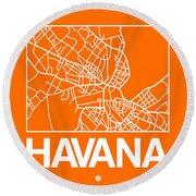 Orange Map Of Havana Round Beach Towel