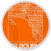 Orange Map Of Melbourne Round Beach Towel