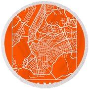 Orange Map Of New York Round Beach Towel