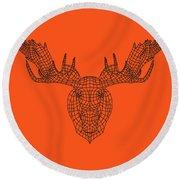 Orange Moose Round Beach Towel