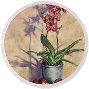 Orchids And Plums Round Beach Towel