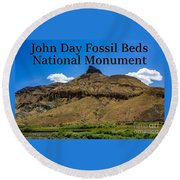 Oregon - John Day Fossil Beds National Monument Sheep Rock 2 Round Beach Towel