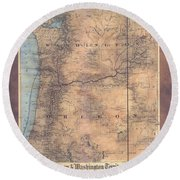 Oregon Washington Historic Map Colton Sepia Map Hand Painted Round Beach Towel