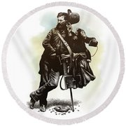 Organ Grinder Round Beach Towel by Clint Hansen