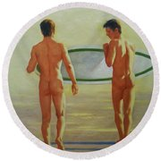 Original  Man Body Oil Painting  Gay Art -two Male Nude By The Sea#16-2-3-02 Round Beach Towel