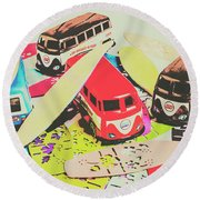 Ornamenting Hawaii Round Beach Towel