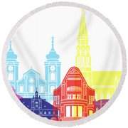 Osijek Skyline Pop Round Beach Towel