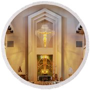 Our Lady Of The Universe Cathedral Round Beach Towel