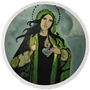 Our Lady Of Veteran Suicide Round Beach Towel by MB Dallocchio