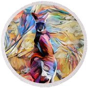 Outback Roo Round Beach Towel by Chris Armytage