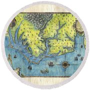 Outer Banks Historic Antique Map Hand Painted Round Beach Towel