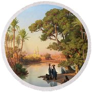 Outskirts Of Cairo Round Beach Towel