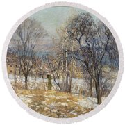 Overlooking The Valley  Round Beach Towel