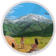Paauw Snow Round Beach Towel by Kevin Daly