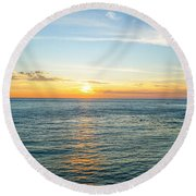 Pacific Ocean Sunset Round Beach Towel