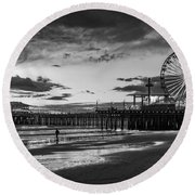Pacific Park - Black And White Round Beach Towel