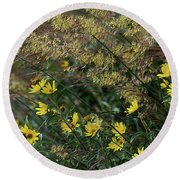 Painted Fall Flowers Round Beach Towel