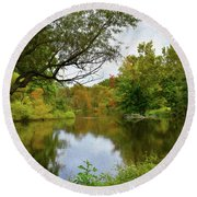 Painted Fall On The Back Pond Round Beach Towel