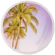Palm Trees And Pink Sky Round Beach Towel