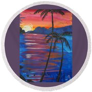 Palm Trees And Water Round Beach Towel