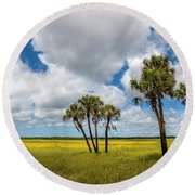 Palm Trees In The Field Of Coreopsis Round Beach Towel