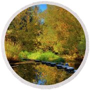 Palouse River Reflections Round Beach Towel