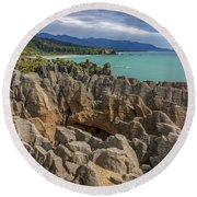 Pancake Rocks - New Zealand Round Beach Towel