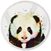 Panda Watercolor Round Beach Towel