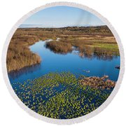 Panorama Of Mouth Of Betsie River Round Beach Towel