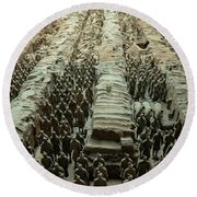 Panorama Of Pit 1, Terra Cotta Warriors Round Beach Towel