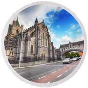 panorama of The Cathedral of Dublin Round Beach Towel by Ariadna De Raadt