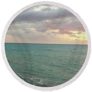 Panoramic View Of Aphrodite's Birthplace Or Petra Tou Romiou In Cyprus Round Beach Towel
